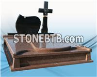 High polished headstone granite monument with cross carving