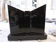 Black headstone granite monument book shape tombstone