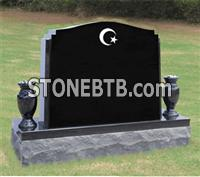 High polished headstone black granite monument