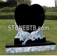 Heart in the hand headstone granite monument black tombstone