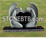 Double angel headstone granite monument with heart shape
