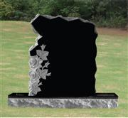 granite tombstone black monument with flower carving headstone