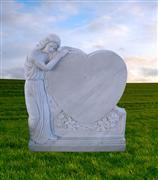 Marble headstone angel carving tombstone with heart shape