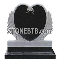 black headstone angel monument with heart shape