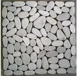 White sliced pebble mosaic tile