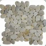 White sliced mosaic pebble tile