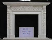 White Limestone Carved Fireplace fr144