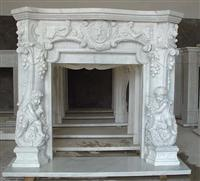 Carrara White Marble Fireplace Mantel