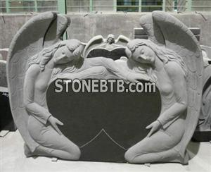 Black Granite Double Angle Style Tombstone