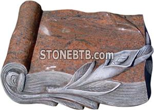 Red Granite Book Style Headstone