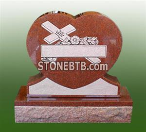Red Granite Heart Style Headstone