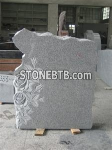 White Granite Flower Style Tombstone