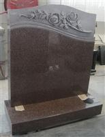 Red Granite Flower Style Tombstone