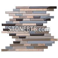Glass mix marble mosaic ST095