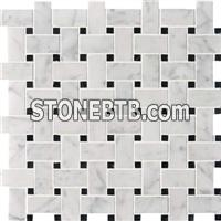 White mix black marble mosaic ST088