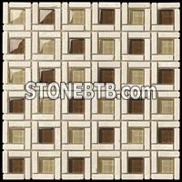 Glass mixed marble mosaic ST090