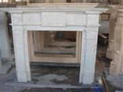 White Carved Stone Fireplace