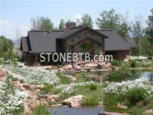 Exterior Stone Red Moss Gate House 0485