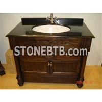 USA Style Oak Cabinet Vanity with Black Pearl Marble Top