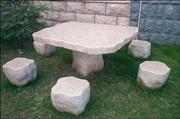 Outdoor Stone Bench, Table Set