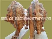 Hand carved stone lion statue