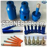 Brazed diamond external/internal thread core drill bit, round/hexagon handle core drill, quick joint handle drill bit