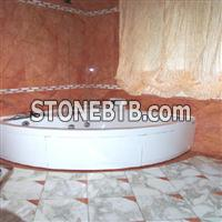 Bathroom in Marble Rosso Alambra and Calacatta Ven