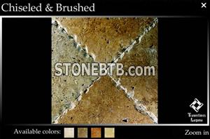 Mexican Noce Travertine Tiles Chiseled and Brushed
