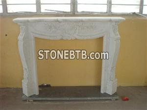 Carving White Marble Fireplace