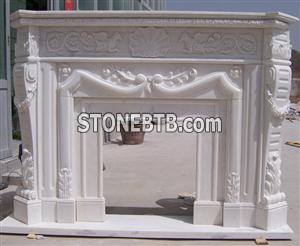 Guangxi White Marble Fireplace