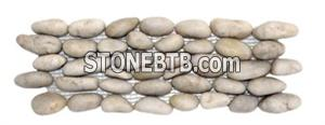 White stand bathroom pebble mosaic tile