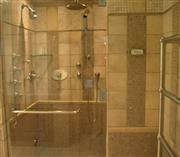 Shower in Noce Travertine Insert Mosaic