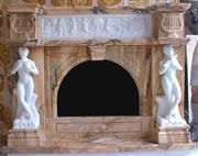 Rosa Aurora Pink Marble Fireplace