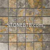 Gold Green 2x2 Polished Travertine Mosaic