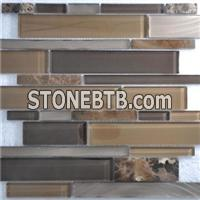 Simple And Gorgeous Kitchen Decoration Glass Stone Mixed Mosaic Tile