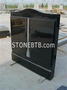 Black Granite Headstone, Book Style Tombstone