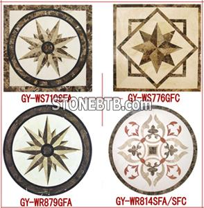 Marble Medallion Inlay Emperador Cream Marfil Nero Marginue