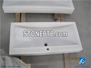 Chinese White Marble Basins Sinks Solid Surface White Marble Bathroon Or kitchen Rectangular Sinks