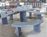 Blue Limestone Bench & Table