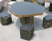 Blue limestone granite table & chair