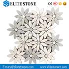 Carrara White Daisy Flower Pattern Mosaic Tile Polished - Marble from Italy