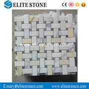 Calacatta Gold Italian Marble Basketweave Mosaic Tile with Blue Dots