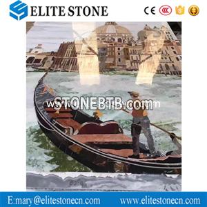 Factory wholesale top service water jet marble wall medallion