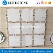 Bathroom Wall Decor Beige Flower Marble Mosaic Tile