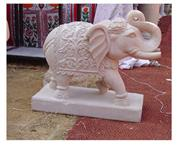 Dholpur White Sandstone Carved Animal Sculpture