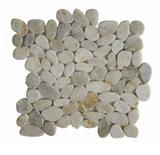 White flat pebble tile
