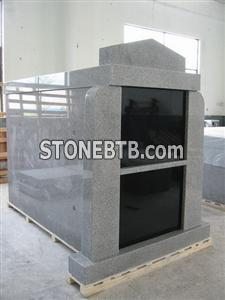 Two Crypt Vertical Grey Granite Mausoleums