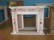 Flower Carved Fireplace Mantel
