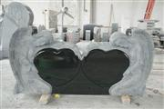 Shanxi black tombstone with Double Angel & heart