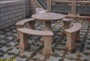 Red granite bench, table